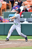 Notre Dame Fighting Irish left fielder Jake Johnson (39) swings at a pitch during a game against the Clemson Tigers during game one of a double headers at Doug Kingsmore Stadium March 14, 2015 in Clemson, South Carolina. The Tigers defeated the Fighting Irish 6-1. (Tony Farlow/Four Seam Images)