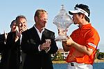 PALM BEACH GARDENS, FL. - Y.E. Yang kisses the winner's tropy for the 2009 Honda Classic - PGA National Resort and Spa in Palm Beach Gardens, FL. on March 8, 2009.
