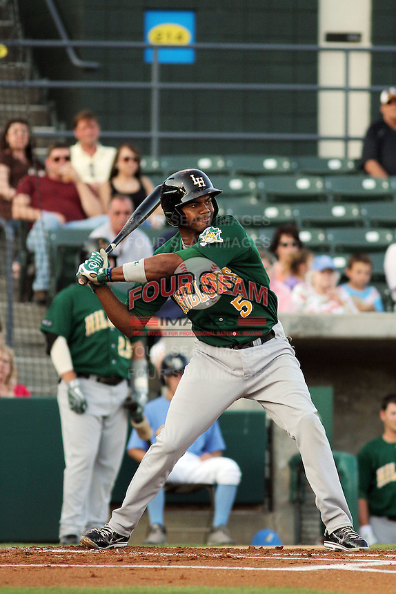Lynchburg Hillcats third baseman Edward Salcedo #5 at bat during a game against the Myrtle Beach Pelicans at Ticketreturn.com Field at Pelicans Park on May 24, 2012 in Myrtle Beach, South Carolina. Myrtle Beach defeated Lynchburg by the score of 8-6. (Robert Gurganus/Four Seam Images)