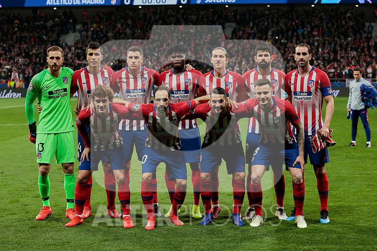 Atletico de Madrid's team photo during UEFA Champions League match, Round of 16, 1st leg between Atletico de Madrid and Juventus at Wanda Metropolitano Stadium in Madrid, Spain. February 20, 2019. (ALTERPHOTOS/A. Perez Meca)