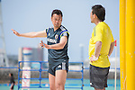 (L-R)  GKMasahiko Nakagawa, Shingo Terukina (JPN),<br /> APRIL 20, 2014 - Beach Soccer :<br /> Beach Soccer Japan national team candidates training camp in Okinawa, Japan. (Photo by Wataru Kohayakawa/AFLO)
