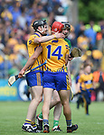Tony Kelly and John Conlon of Clare celebrate following their Munster championship game win against Limerick in Ennis. Photograph by John Kelly.