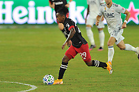 WASHINGTON, DC - SEPTEMBER 27: Yordi Reyna #29 of D.C. United moves the ball during a game between New England Revolution and D.C. United at Audi Field on September 27, 2020 in Washington, DC.