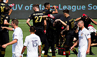 LOS ANGELES, CA - AUGUST 22: Los Angeles Football Club hydrating during a game between Los Angeles Galaxy and Los Angeles FC at Banc of California Stadium on August 22, 2020 in Los Angeles, California.