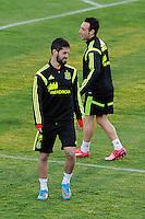 Spanish National Team's  training at Ciudad del Futbol stadium in Las Rozas, Madrid, Spain. In the pic: Isco and Santi Cazorla. March 25, 2015. (ALTERPHOTOS/Luis Fernandez) /NORTEphoto.com