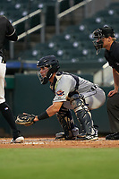 Lakeland Flying Tigers catcher Brady Policelli (7) during a Florida State League game against the Jupiter Hammerheads on August 12, 2019 at Roger Dean Chevrolet Stadium in Jupiter, Florida.  Jupiter defeated Lakeland 9-3.  (Mike Janes/Four Seam Images)