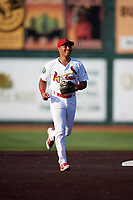 Johnson City Cardinals second baseman Donivan Williams (3) jogs back to the dugout during a game against the Danville Braves on July 29, 2018 at TVA Credit Union Ballpark in Johnson City, Tennessee.  Johnson City defeated Danville 8-1.  (Mike Janes/Four Seam Images)