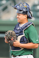 Catcher Luis Alvarez (45) of the Lexington Legends, a Houston Astros affiliate, before a game against the Greenville Drive on July 19, 2012, at Fluor Field at the West End in Greenville, South Carolina. (Tom Priddy/Four Seam Images)