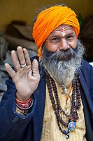 India, Dehradun.  Tapkeshwar Hindu Temple.  Sadhu, a Hindu Ascetic.  He wears a mala (rosary) of rudraksh seeds.