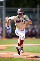 Boston College Eagles right fielder Donovan Casey (30) runs to first base during a game against the Central Michigan Chippewas on March 3, 2017 at North Charlotte Regional Park in Port Charlotte, Florida.  Boston College defeated Central Michigan 5-4.  (Mike Janes/Four Seam Images)