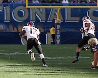 Gardner-Webb cornerback Kamar Morrison (13) returns a fumble 65 yards for a touchdown. The Pitt Panthers defeated the Gardner-Webb Runnin Bulldogs 55-10 at Heinz Field, Pittsburgh PA on September 22, 2012..