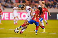 HOUSTON, TX - FEBRUARY 03: Tobin Heath #17 of the Unites States attempts to take a shot past Gabriela Guillen #2 of Costa Rica during a game between Costa Rica and USWNT at BBVA Stadium on February 03, 2020 in Houston, Texas.