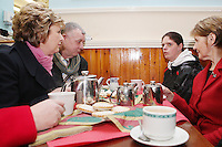 NO REPRO FEE. President McAleese has visited the Focus Ireland Coffee Shop.20/12/2010. L-R President Mary McAleese, DesMurphy and Jacinta Duffy customers and Sr Stanislaus Kennedy at the Focus Ireland Coffee Shop and Housing Advice Service in Temple Bar. The Centre provides meals, advice, information and support to the homeless.Picture James Horan/Collins Photos