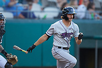 Jameson Fisher (11) of the Winston-Salem Dash follows through on his swing against the Down East Wood Ducks at Grainger Stadium Field on May 17, 2019 in Kinston, North Carolina. The Dash defeated the Wood Ducks 8-2. (Brian Westerholt/Four Seam Images)
