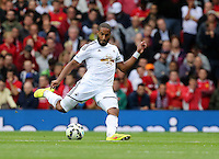 Pictured: Ashley Williams of Swansea. Saturday 16 August 2014<br /> Re: Premier League Manchester United v Swansea City FC at the Old Trafford, Manchester, UK.