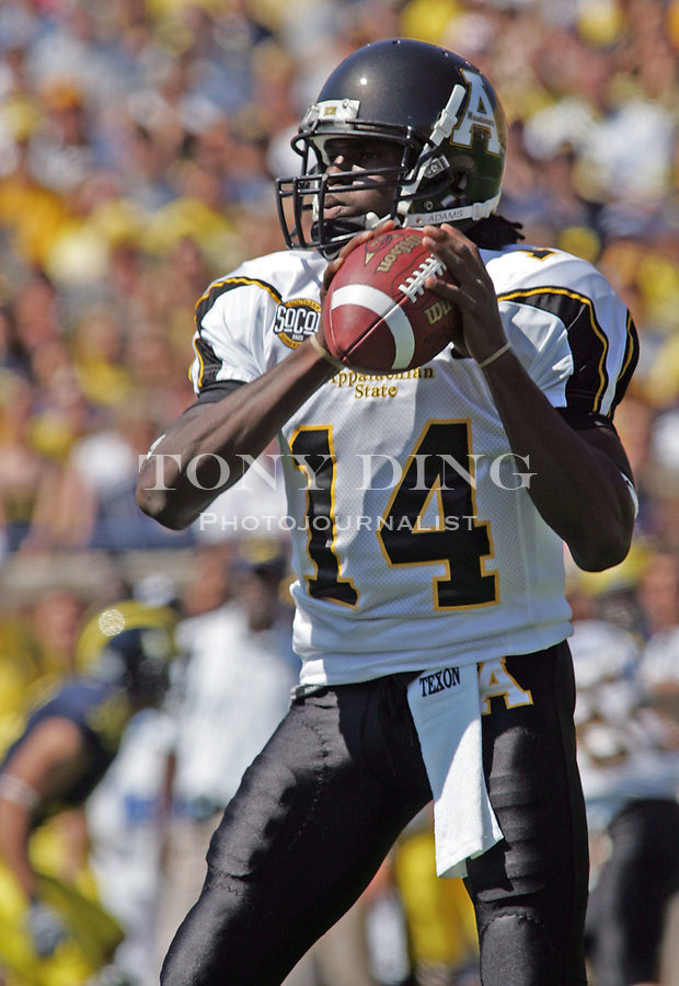 1 September 2007: Appalachian State quarterback Armanti Edwards looks for a receiver to pass to in the 2007 college football season opener game between the Michigan Wolverines and the Appalachian State Mountaineers at Michigan Stadium in Ann Arbor, MI. No. 5 ranked Michigan was upset 32-34.