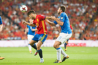 Spain's Marco Asensio and Italy's Andrea Barzagli during match between Spain and Italy to clasification to World Cup 2018 at Santiago Bernabeu Stadium in Madrid, Spain September 02, 2017. (ALTERPHOTOS/Borja B.Hojas)