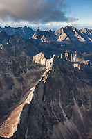 Aerial of the Arrigetch Peaks, Gates of the Arctic National Park, Alaska.