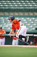 GCL Orioles center fielder Robbie Thorburn (31) starts down the first base line during a game against the GCL Rays on July 21, 2017 at Ed Smith Stadium in Sarasota, Florida.  GCL Orioles defeated the GCL Rays 9-0.  (Mike Janes/Four Seam Images)