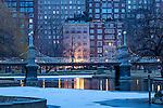 Christmas snow in the BostonPublic Garden, Boston, Massachusetts, USA