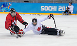 Sochi, RUSSIA - Mar 2 2014 -  Billy Bridges and Kevin Rempel during practice before the 2014 Paralympics in Sochi, Russia.  (Photo: Matthew Murnaghan/Canadian Paralympic Committee)