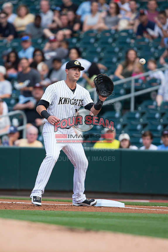 Charlotte Knights first baseman Nicky Delmonico (10) waits for a throw during the game against the Syracuse Chiefs at BB&T BallPark on June 1, 2016 in Charlotte, North Carolina.  The Knights defeated the Chiefs 5-3.  (Brian Westerholt/Four Seam Images)