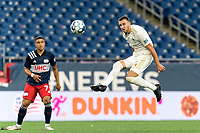 FOXBOROUGH, MA - AUGUST 5: Max Flick #4 of North Carolina FC intercepts a pass during a game between North Carolina FC and New England Revolution II at Gillette Stadium on August 5, 2021 in Foxborough, Massachusetts.