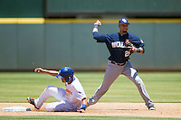 New Orleans Zephyrs shortstop Juan Diaz #29 turns a double play during the Pacific Coast League baseball game against the Round Rock Express on May 4, 2014 at the Dell Diamond in Round Rock, Texas. The Express defeated the Zephyrs 15-12. (Andrew Woolley/Four Seam Images)