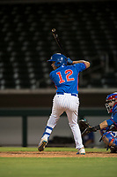 AZL Cubs 2 shortstop Henrry Pedra (12) at bat during an Arizona League game against the AZL Rangers at Sloan Park on July 7, 2018 in Mesa, Arizona. AZL Rangers defeated AZL Cubs 2 11-2. (Zachary Lucy/Four Seam Images)