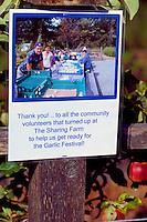 5th Annual Garlic Festival, August 2013 (hosted by The Sharing Farm) at Terra Nova Rural Park, Richmond, BC, British Columbia, Canada - Thank You to All the Volunteers at the Garlic Festival