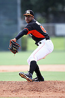 Miami Marlins pitcher Jeremy Ovalle #66 during an Instructional League intramural game on September 30, 2014 at Roger Dean Complex in Jupiter, Florida.  (Stacy Jo Grant/Four Seam Images)