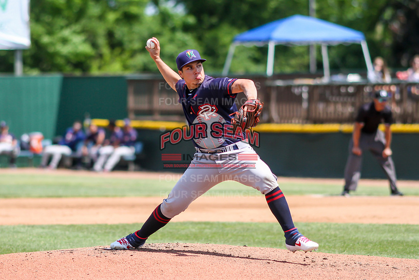 Cedar Rapids Kernels pitcher Andrew Cabezas (21) delivers a pitch during a Midwest League game against the Beloit Snappers on June 2, 2019 at Pohlman Field in Beloit, Wisconsin. Beloit defeated Cedar Rapids 6-1. (Brad Krause/Four Seam Images)