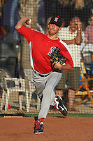 Salem Red Sox pitcher Matt Barnes #35 warming up in the bullpen before a game against the Myrtle Beach Pelicans at Tickerreturn.com Field at Pelicans Ballpark on May 11, 2012 in Myrtle Beach, South Carolina. Salem defeated Myrtle Beach by the score of 5-3 in 14 innings. (Robert Gurganus/Four Seam Images)