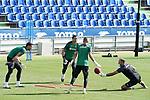 Getafe's David Soria, Leandro Chichizola, goalkeeping coach Javier Barbero and Jean Paul Garcia during training session. August 3,2020.(ALTERPHOTOS/Acero)