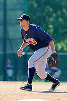 Infielder Seth Loman (84) of the Atlanta Braves farm system in a Minor League Spring Training workout on Tuesday, March 17, 2015, at the ESPN Wide World of Sports Complex in Lake Buena Vista, Florida. (Tom Priddy/Four Seam Images)