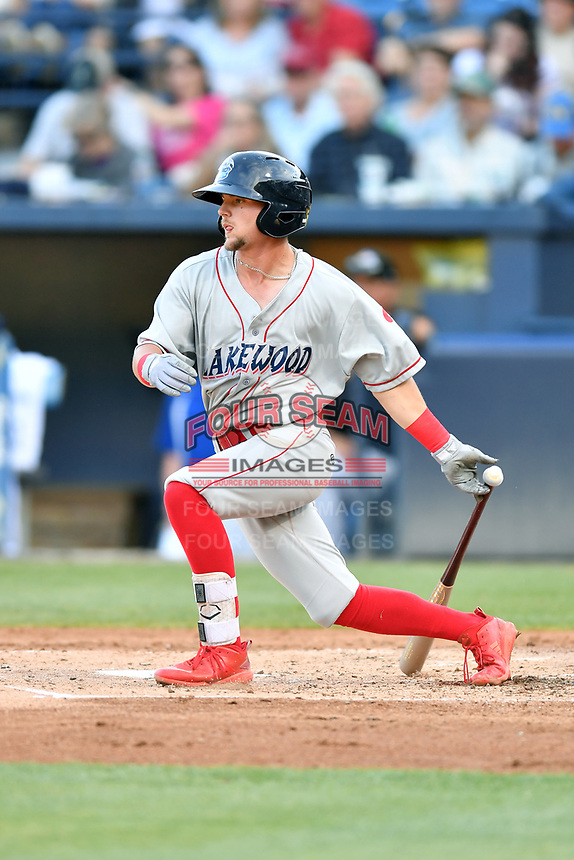 Lakewood BlueClaws Hunter Stovall (9) swings at a pitch during a game against the Asheville Tourists at McCormick Field on June 14, 2019 in Asheville, North Carolina. The BlueClaws defeated the Tourists 7-5. (Tony Farlow/Four Seam Images)