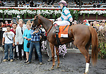 Caroline Thomas (no. 7), ridden by Rosie Napravnik and trained by Barclay Tagg, wins the 30th running of the grade 2 Lake Placid Stakes for three year old fillies upon disqualification of Nellie Cashman (no. 4), ridden by Forest Boyce, on August 18, 2013 at Saratoga Race Course in Saratoga Springs, New York.  (Bob Mayberger/Eclipse Sportswire)