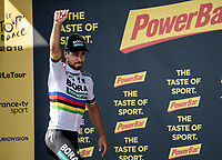 World Champion Peter Sagan (SVK/Bora Hansgrohe) on the podium after taking the stage victory. <br /> <br /> Stage 5: Lorient > Quimper (203km)<br /> <br /> 105th Tour de France 2018<br /> ©kramon