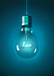 Illustrative image of light bulb with love sign over blue background