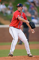Drew Pomeranz #13 of the Ole Miss Rebels in action against the St. John's Red Storm at the Charlottesville Regional of the 2010 College World Series at Davenport Field on June4, 2010, in Charlottesville, Virginia.  The Rebels defeated the Red Storm 10-5.  Photo by Brian Westerholt / Four Seam Images