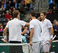 Rotterdam, The Netherlands. 15.02.2014. Michael Llodra(FRA)/ Nicolas Mahut(FRA) at the ABN AMRO World tennis Tournament<br /> Photo:Tennisimages/Henk Koster