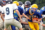 Seymour, CT-06 September 2012-090611CM06-  Seymour's Jimmy Vartelas carries the ball during a scrimmage against Oxford Thursday night in Seymour.    Christopher Massa Republican-American