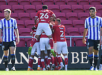27th September 2020; Ashton Gate Stadium, Bristol, England; English Football League Championship Football, Bristol City versus Sheffield Wednesday;  Tommy Rowe of Bristol City celebrates with his team after scoring in 59th minute for 1-0