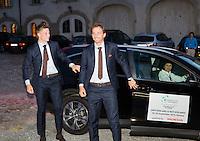 Switserland, Genève, September 16, 2015, Tennis,   Davis Cup, Switserland-Netherlands, location of the official diner, Domaine du Clos Du Chateau arival of Dutch players Tim van Rijthoven (L) and Matwe Middelkoop<br /> Photo: Tennisimages/Henk Koster