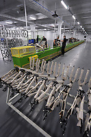 Pictured: The assembly line Monday 15 August 2016<br />Re: Frog Bikes in Mamhilad Estate Park in Pontypool, Wales, UK