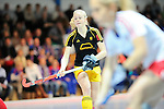 Mannheim, Germany, January 24: During the 1. Bundesliga Damen Hallensaison 2014/15 quarter-final hockey match between Mannheimer HC (white) and Harvestehuder THC (black) on January 24, 2015 at Irma-Roechling-Halle in Mannheim, Germany. Final score 2-3 (2-2). (Photo by Dirk Markgraf / www.265-images.com) *** Local caption *** Annelotte Ziehm #23 of Harvestehuder THC