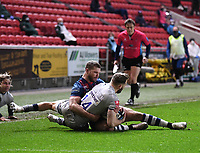5th February 2021; Ashton Gate Stadium, Bristol, England; Premiership Rugby Union, Bristol Bears versus Sale Sharks; Henry Purdy of Bristol Bears competes for the ball with Byron McGuigan of Sale Sharks