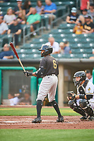 Jaylin Davis (6) of the Sacramento River Cats at bat against the Salt Lake Bees at Smith's Ballpark on August 16, 2021 in Salt Lake City, Utah. The Bees defeated the River Cats 6-0. (Stephen Smith/Four Seam Images)