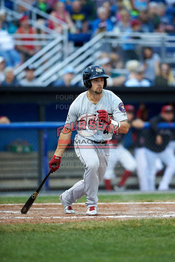 Tri-City ValleyCats designated hitter J.J. Matijevic (4) at bat during a game against the Batavia Muckdogs on July 14, 2017 at Dwyer Stadium in Batavia, New York.  Batavia defeated Tri-City 8-4.  (Mike Janes/Four Seam Images)