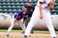 Eric Stamets (8) of the Evansville Purple Aces leads off of first base during a game against the Missouri State Bears at Hammons Field on May 12, 2012 in Springfield, Missouri. (David Welker/Four Seam Images)